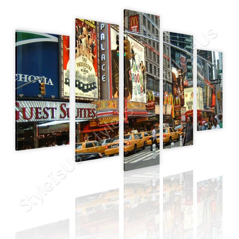 Split 5 panels Times square urban life 5 Panels | Canvas, Posters, Prints & Stickers - StyleIsUS.com