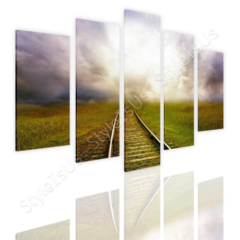 Split 5 panels Train road in the cloud 5 Panels | Canvas, Posters, Prints & Stickers - StyleIsUS.com