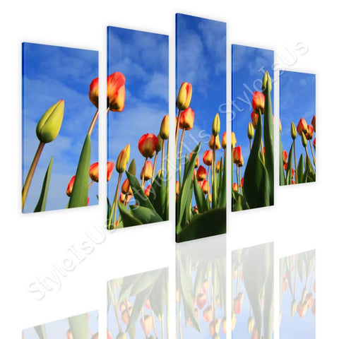 Split 5 panels Tulips field 5 Panels | Canvas, Posters, Prints & Stickers - StyleIsUS.com