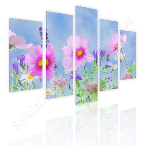 Split 5 panels Wild flowers in nature 5 Panels | Canvas, Posters, Prints & Stickers - StyleIsUS.com