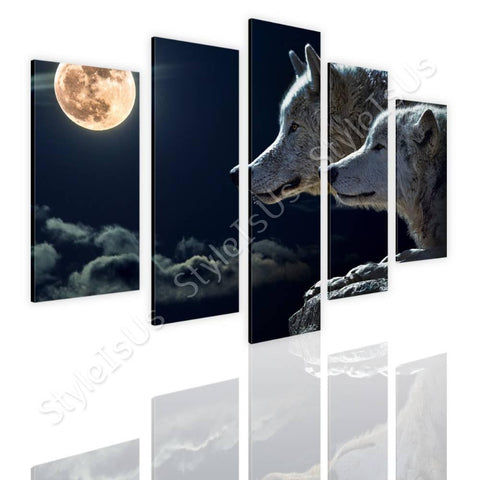 Split 5 panels Wolfs in full moon 5 Panels | Canvas, Posters, Prints & Stickers - StyleIsUS.com
