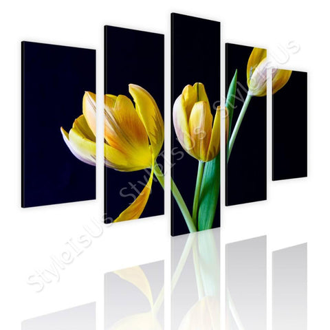 Split 5 panels yellow tulips in spring 5 Panels | Canvas, Posters, Prints & Stickers - StyleIsUS.com
