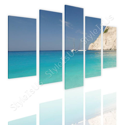 Split 5 panels Zakhintos beach greece 5 Panels | Canvas, Posters, Prints & Stickers - StyleIsUS.com