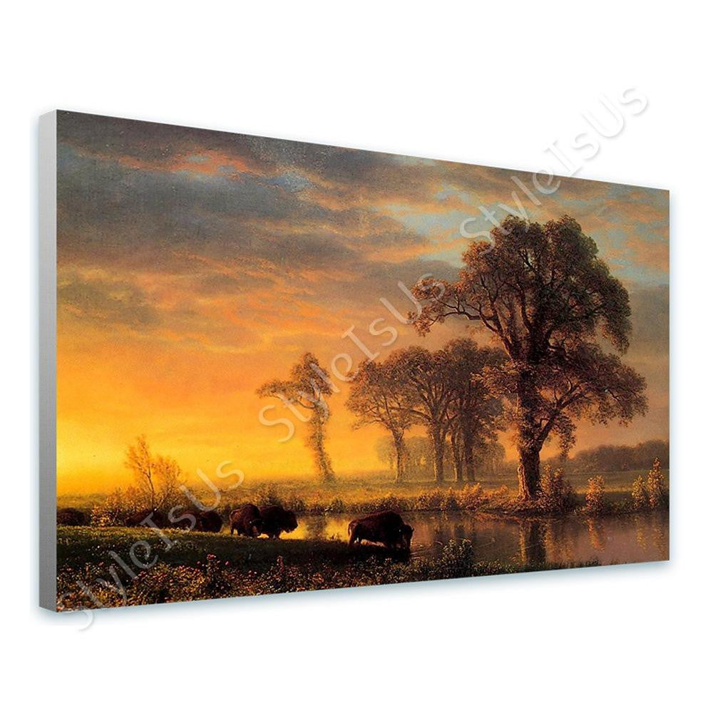 Albert Bierstadt Western Kansas Buffaloes | Canvas, Posters, Prints & Stickers - StyleIsUS.com