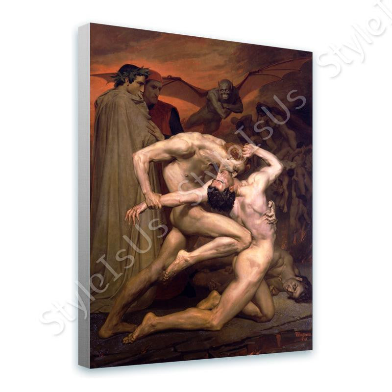 William Bouguereau Dante And Virgil In Hell | Canvas, Posters, Prints & Stickers - StyleIsUS.com