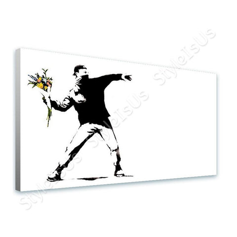 Banksy Flower Thrower | Canvas, Posters, Prints & Stickers - StyleIsUS.com