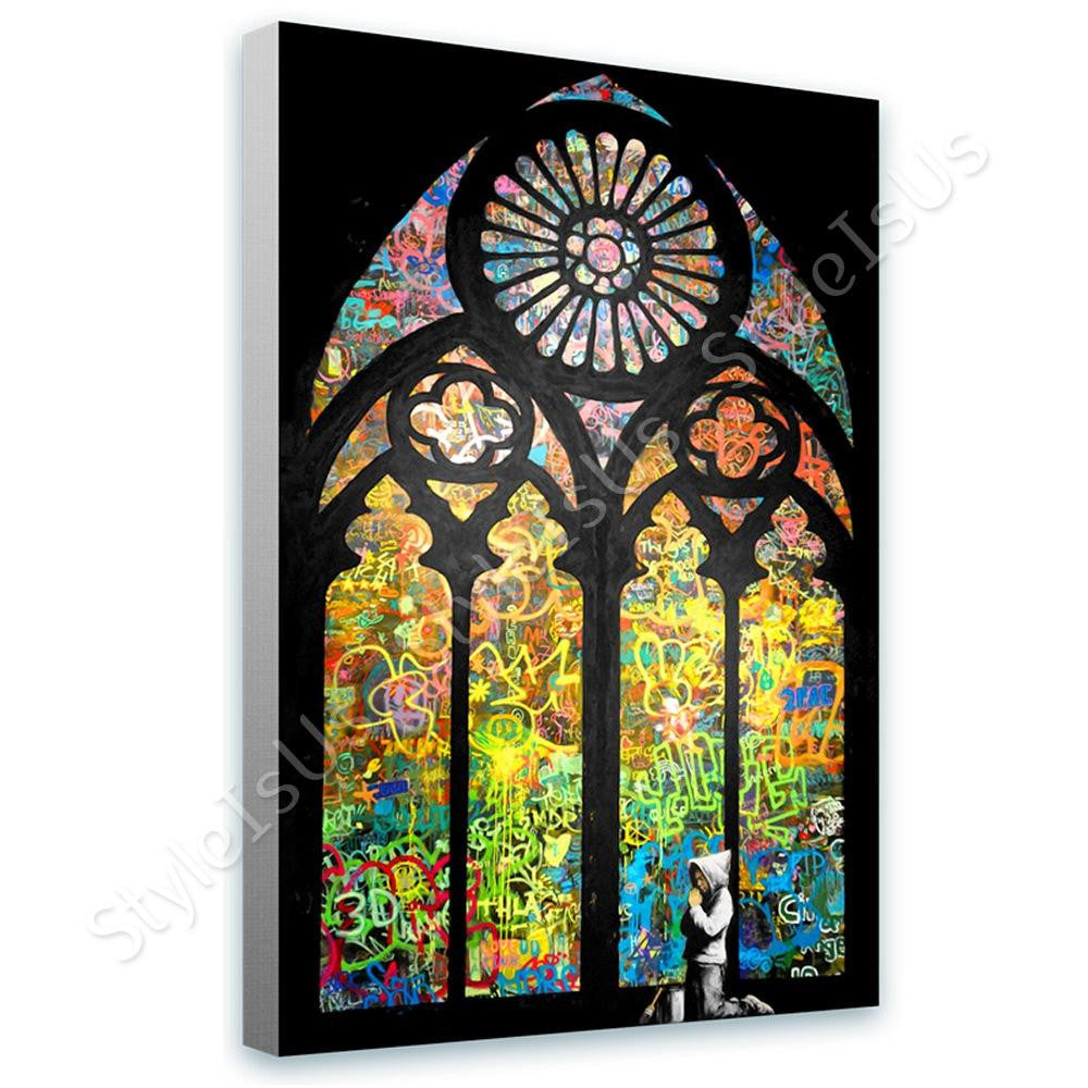 Banksy Stained Glass Window Church Cathedral | Canvas, Posters, Prints & Stickers - StyleIsUS.com