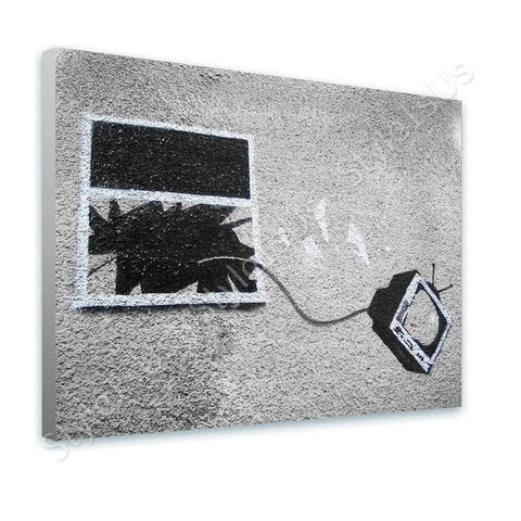 Banksy TV Through Window | Canvas, Posters, Prints & Stickers - StyleIsUS.com