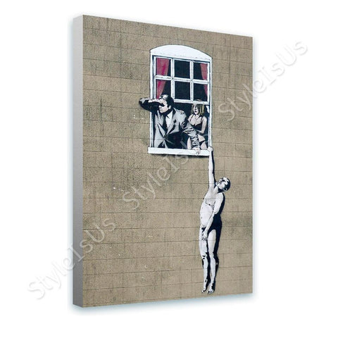 Banksy Naked Man Hanging from Window | Canvas, Posters, Prints & Stickers - StyleIsUS.com