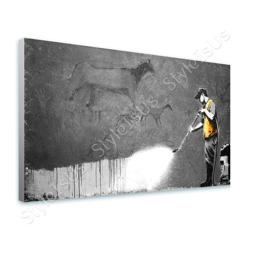 Banksy Washing Wall Cave Man | Canvas, Posters, Prints & Stickers - StyleIsUS.com