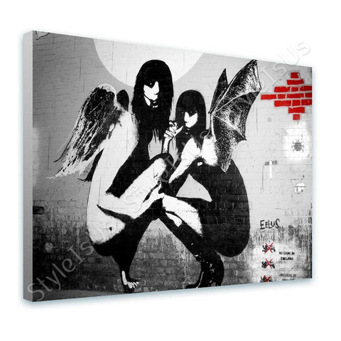Banksy Kneeling Angels | Canvas, Posters, Prints & Stickers - StyleIsUS.com