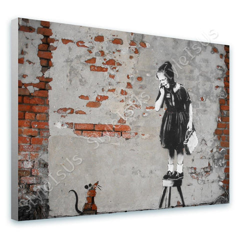 Banksy Girl Scared Rat Mouse | Canvas, Posters, Prints & Stickers - StyleIsUS.com