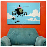 Banksy Apache Helicopter with Bow | Canvas, Posters, Prints & Stickers - StyleIsUS.com
