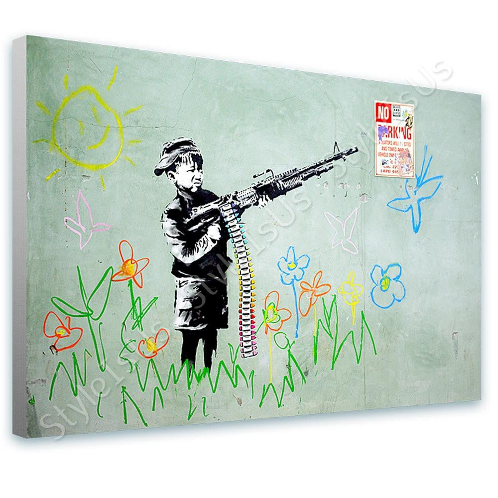 Banksy Crayon Shooter | Canvas, Posters, Prints & Stickers - StyleIsUS.com
