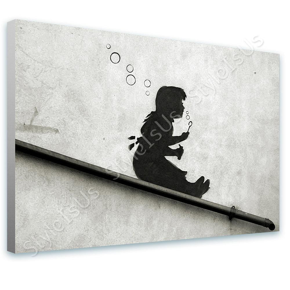 Banksy Girl Sliding | Canvas, Posters, Prints & Stickers - StyleIsUS.com