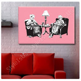 Banksy Old Women Knitting | Canvas, Posters, Prints & Stickers - StyleIsUS.com