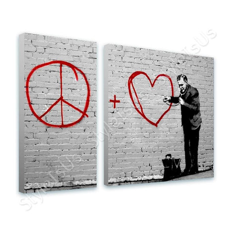Banksy Doctor Peace Love 2 Panels | Canvas, Posters, Prints & Stickers - StyleIsUS.com