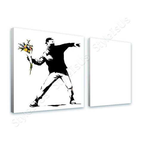 Banksy Flower Thrower man 2 Panels | Canvas, Posters, Prints & Stickers - StyleIsUS.com