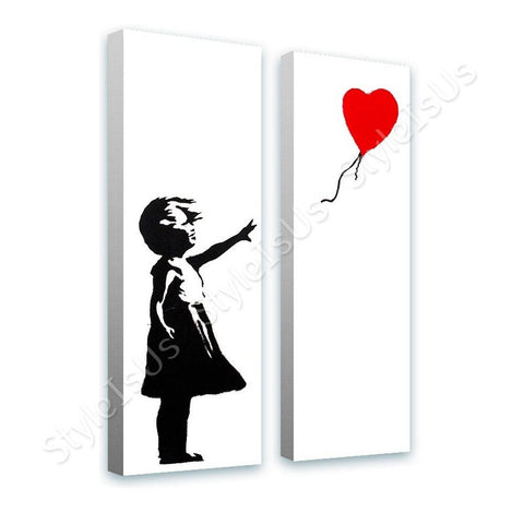 Banksy Girl Red Balloon Hope 2 Panels | Canvas, Posters, Prints & Stickers - StyleIsUS.com