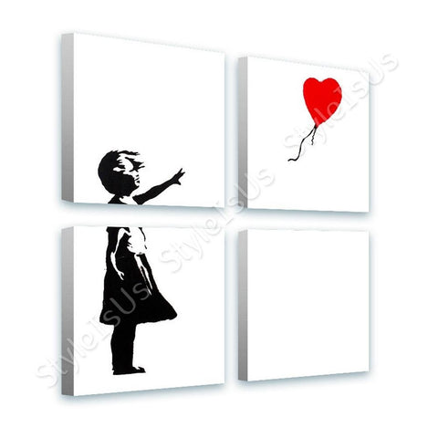 Banksy Girl Red Balloon Hope 4 Panels | Canvas, Posters, Prints & Stickers - StyleIsUS.com
