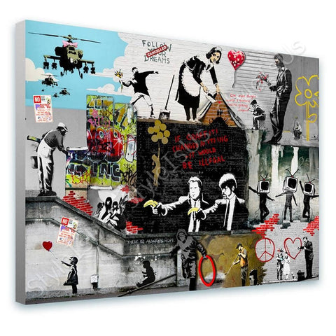 Banksy unique Collage pulp vain balloon flower | Canvas, Posters, Prints & Stickers - StyleIsUS.com