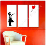 Banksy Girl Red Balloon Hope 3 Panels | Canvas, Posters, Prints & Stickers - StyleIsUS.com