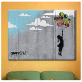 Banksy Unique Collage girl baloon wall | Canvas, Posters, Prints & Stickers - StyleIsUS.com