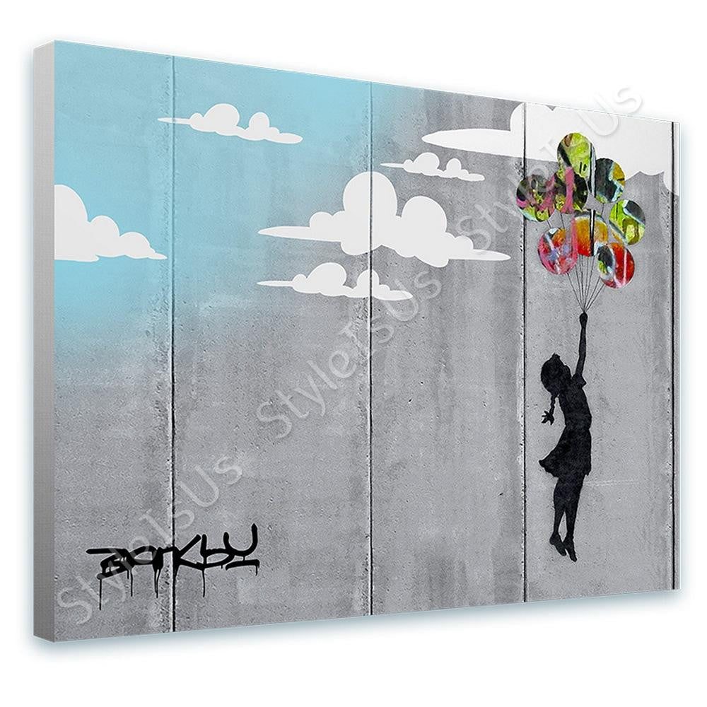 Banksy Unique Collage girl balloon wall | Canvas, Posters, Prints & Stickers - StyleIsUS.com
