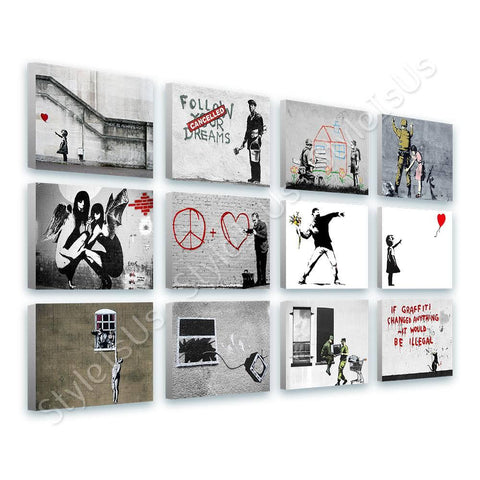 Banksy Hope doctor flower girl Set Of 12 | Canvas, Posters, Prints & Stickers - StyleIsUS.com