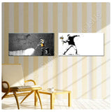Banksy flower thrower wall cave Set Of 2 | Canvas, Posters, Prints & Stickers - StyleIsUS.com