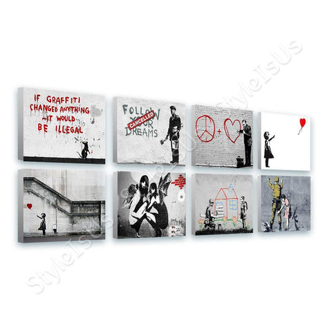 Banksy hope red balloon girl doctor Set Of 8 | Canvas, Posters, Prints & Stickers - StyleIsUS.com