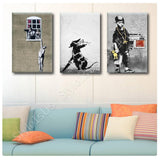 Banksy man hanging rat boy Set Of 3 | Canvas, Posters, Prints & Stickers - StyleIsUS.com