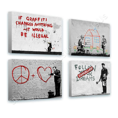 Banksy dreams doctor house Set Of 4 | Canvas, Posters, Prints & Stickers - StyleIsUS.com