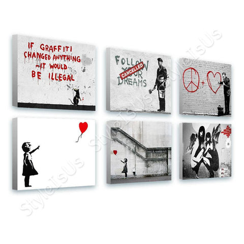 Banksy girl red balloon hope doctor Set Of 6 | Canvas, Posters, Prints & Stickers - StyleIsUS.com
