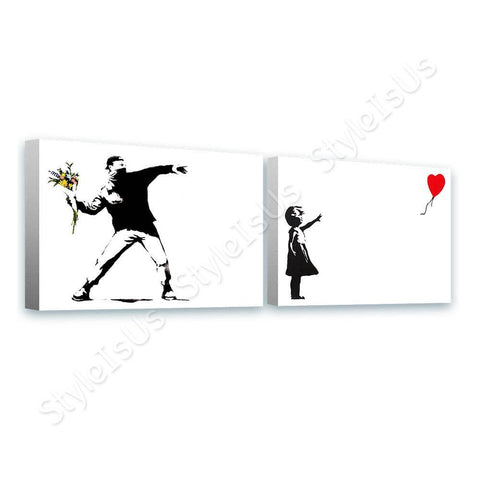 Banksy flower throw girl balloon Set Of 2 | Canvas, Posters, Prints & Stickers - StyleIsUS.com