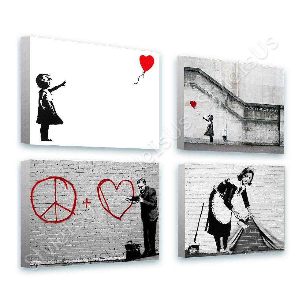 Banksy girl doctor hope sweeper Set Of 4 | Canvas, Posters, Prints & Stickers - StyleIsUS.com