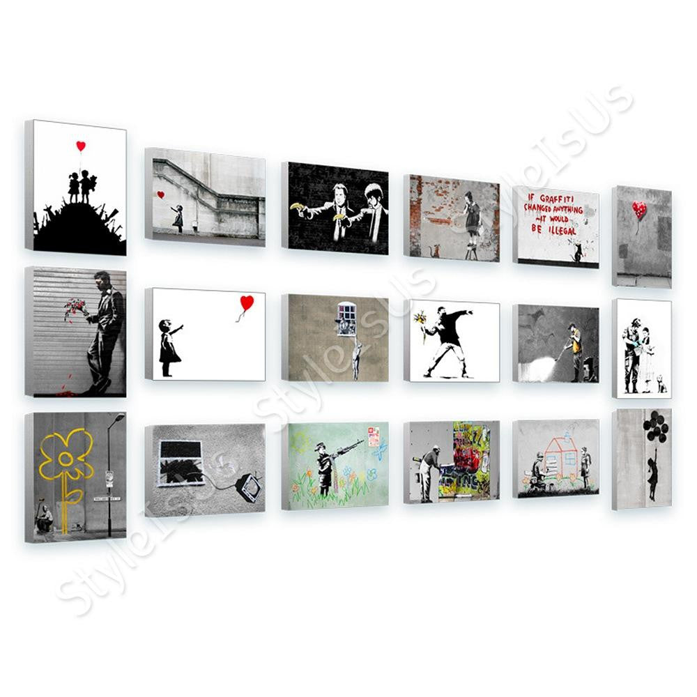 Banksy guns girl boy crayon balloon Set Of 18 | Canvas, Posters, Prints & Stickers - StyleIsUS.com