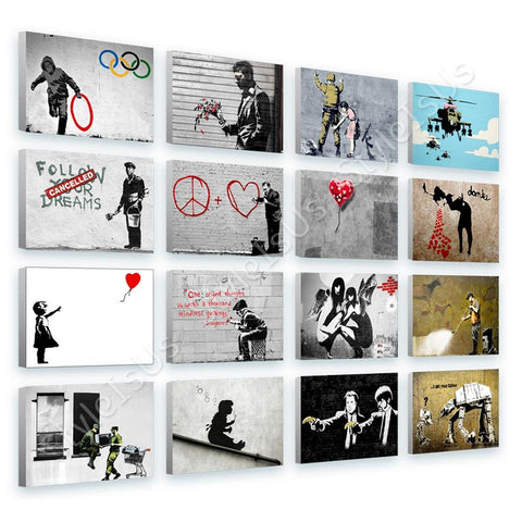 Banksy grunning vain doctor balloon Set Of 16 | Canvas, Posters, Prints & Stickers - StyleIsUS.com