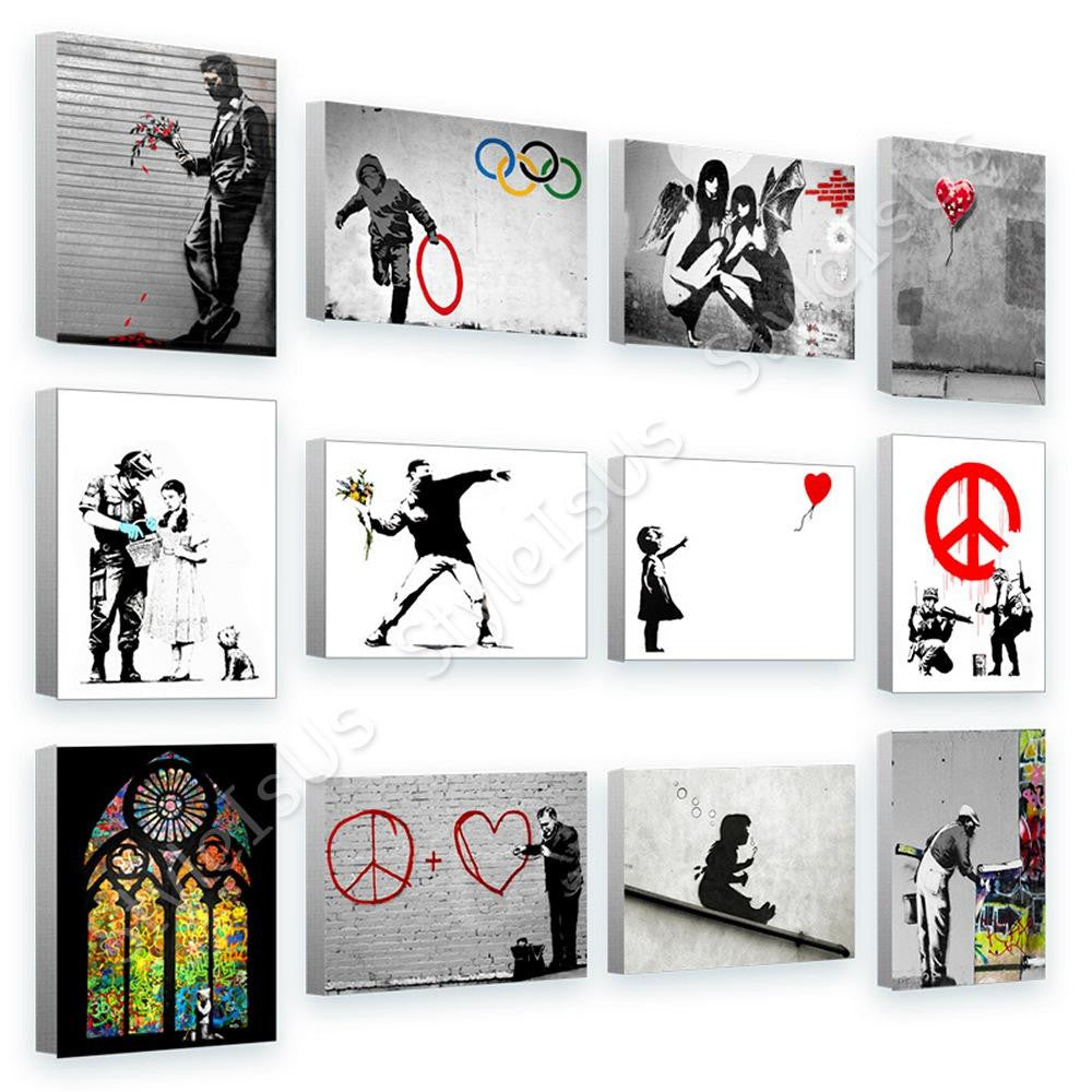 Banksy cnd flower window girl Set Of 12 | Canvas, Posters, Prints & Stickers - StyleIsUS.com