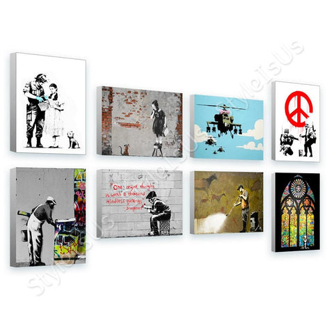 Banksy glass window girl boy cave Set Of 8 | Canvas, Posters, Prints & Stickers - StyleIsUS.com