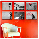 Banksy Flying girl baloon heart Set Of 6 | Canvas, Posters, Prints & Stickers - StyleIsUS.com