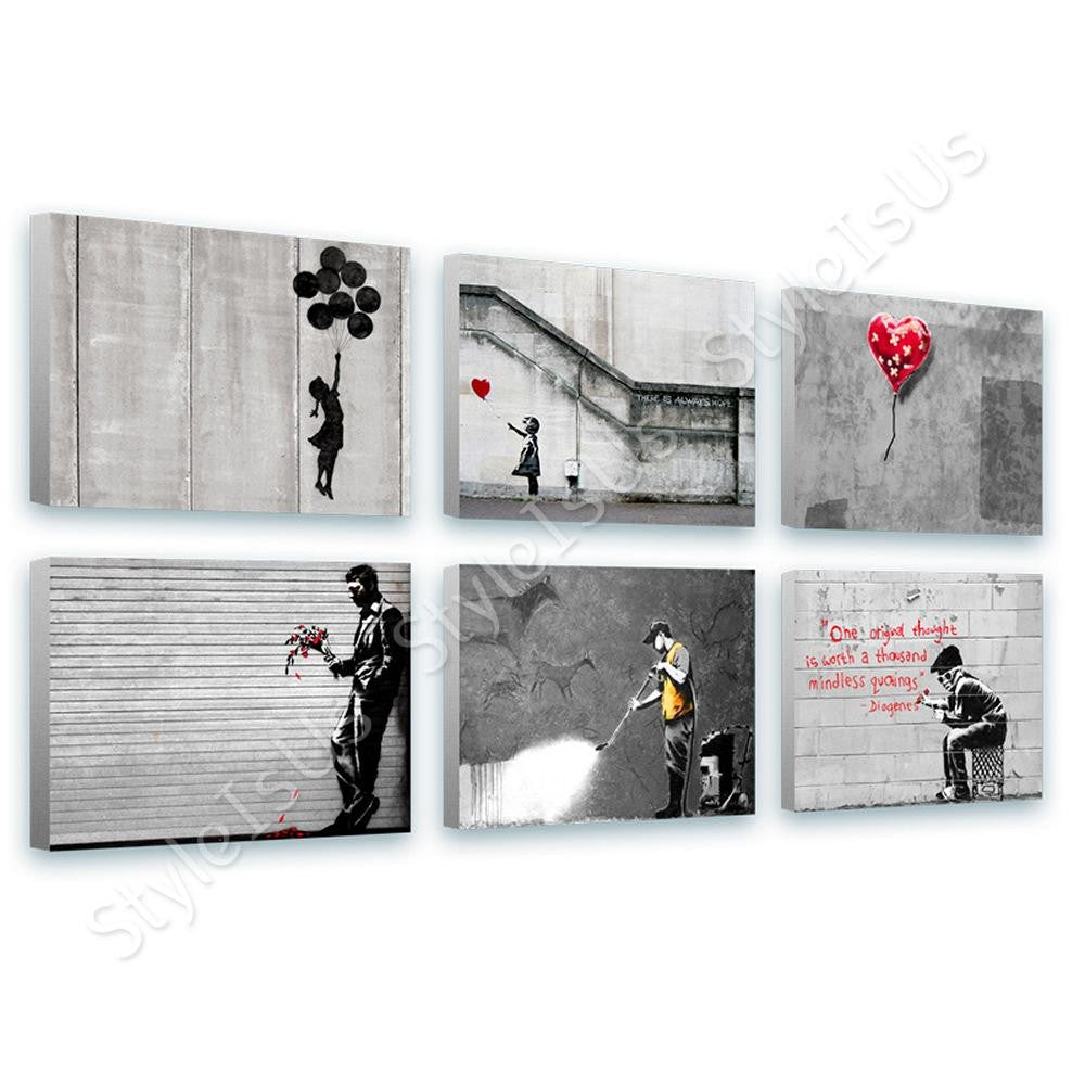 Banksy Flying girl balloon heart Set Of 6 | Canvas, Posters, Prints & Stickers - StyleIsUS.com