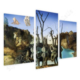 Salvador Dali Swans Reflecting Elephants 3 Panels | Canvas, Posters, Prints & Stickers - StyleIsUS.com