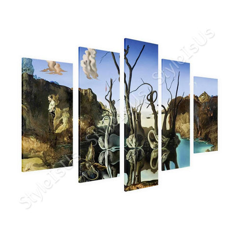 Salvador Dali Swans Reflecting Elephants 5 Panels | Canvas, Posters, Prints & Stickers - StyleIsUS.com