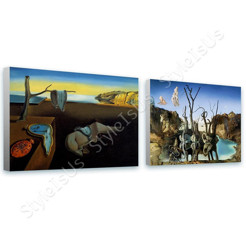 Salvador Dali Persistence Memory Swans Elephants Set Of 2 | Canvas, Posters, Prints & Stickers - StyleIsUS.com