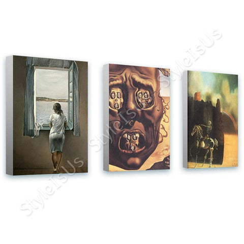 Salvador Dali Woman Window Face War Horseman Set Of 3 | Canvas, Posters, Prints & Stickers - StyleIsUS.com