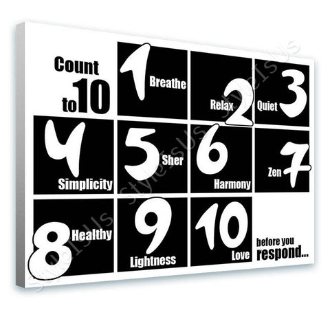 Alonline Designs count to ten before you respond black and white | Canvas, Posters, Prints & Stickers - StyleIsUS.com