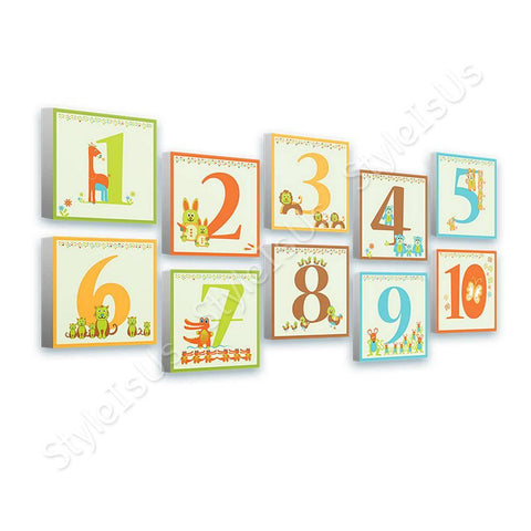 Alonline Designs Horizontal Animal Numbers Set Of 10 | Canvas, Posters, Prints & Stickers - StyleIsUS.com