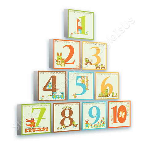 Alonline Designs Pyramid Animal numbers Set Of 10 | Canvas, Posters, Prints & Stickers - StyleIsUS.com