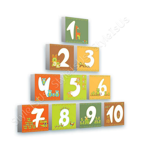 Alonline Designs animal numbers colorful pyramid Set Of 10 | Canvas, Posters, Prints & Stickers - StyleIsUS.com
